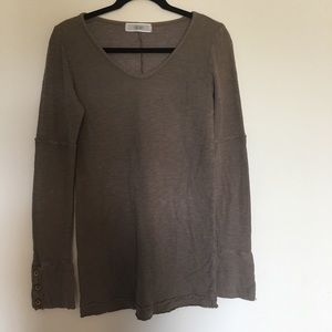 Able long sleeve brown distressed top size large